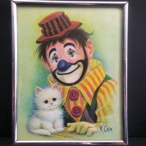 Vintage hobo clown and kitten K chin MCM